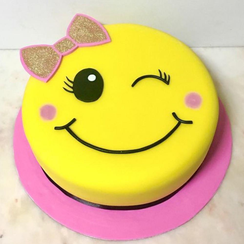 Winky Smiley Birthday Cake Design For Kids