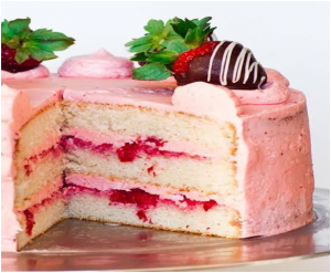 Champagne Cake With Strawberry Buttercream