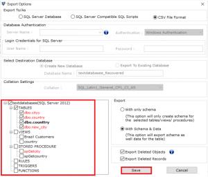 Choose database objects